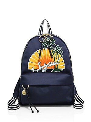 Andy Embroidered Satin Backpack