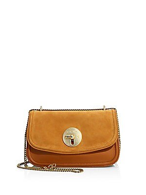 Lois Medium Leather and Suede Evening Shoulder Bag