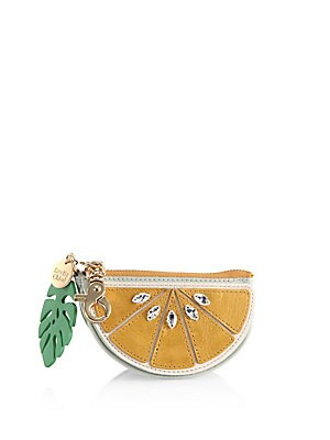 Embellished Lemon Leather Coin Purse