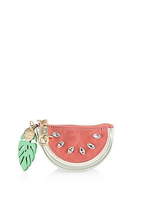 Embellished Watermelon Leather Coin Purse