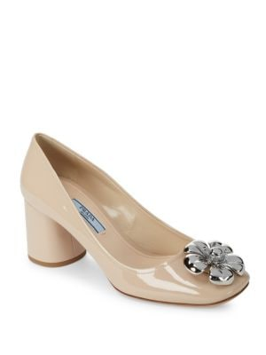 Floral Decorated Leather Pumps Prada