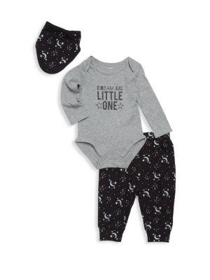 Baby's Three-Piece Cotton Bodysuit, Pants  Bib Set PL♥BABY