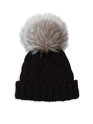 Cable-Knit Fox Fur Hat