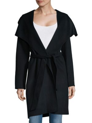 Solid Wool-Blend Wrap Coat T Tahari
