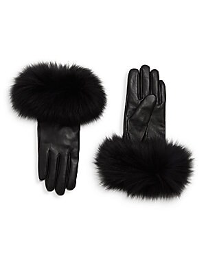 Chic Fox Fur Leather Gloves