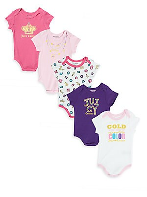Baby's Five-Piece Printed Bodysuits