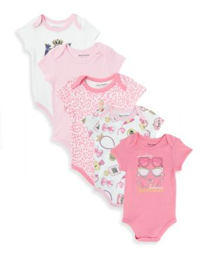 Baby's Five-Piece Printed Bodysuits Juicy Couture