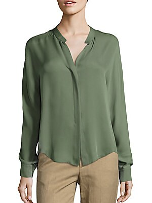 Long Sleeve Double Front Silk Blouse