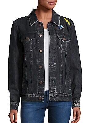 Embroidered Boyfriend Denim Jacket