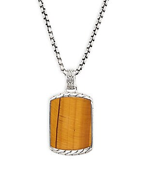 Chain Silver Tiger Eye Pendant Necklace