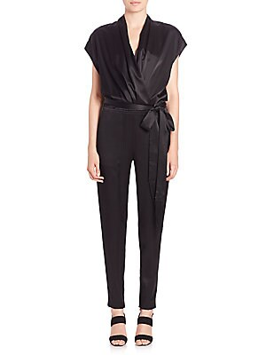 Alessandra Belted Satin Jumpsuit