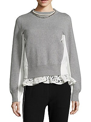 Pearl & Lace Colorblock Sweatshirt