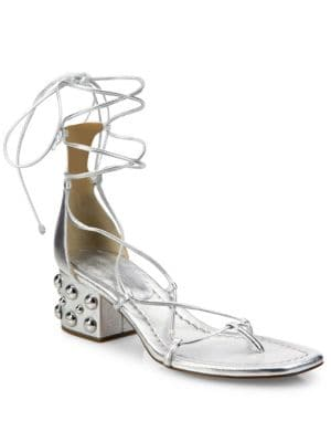 Ayers Metallic Leather Lace-Up Block Heel Sandals Michael Kors Collection