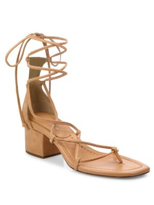 Ayers Suede Lace-Up Block Heel Sandals Michael Kors Collection