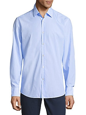 Pinstripe Cotton Button-Down Shirt