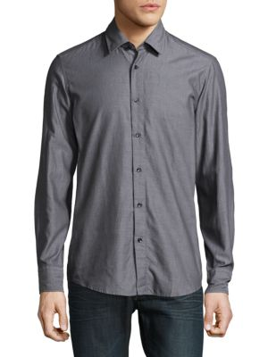Lukas Cotton Button-Down Shirt HUGO BOSS