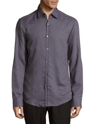 Simon Cotton Casual Button-Down Shirt HUGO BOSS