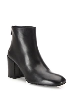 Bacari Leather Block Heel Booties Stuart Weitzman