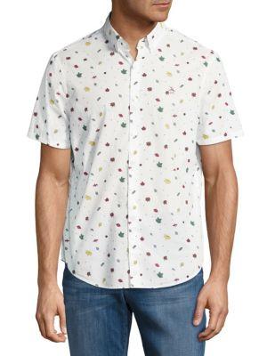 Printed Cotton Casual Button-Down Shirt Original Penguin