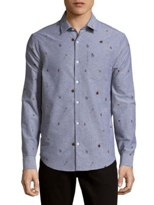 Printed Casual Button-Down Shirt Original Penguin