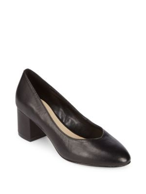 Amaya Block Heel Leather Pumps Saks Fifth Avenue