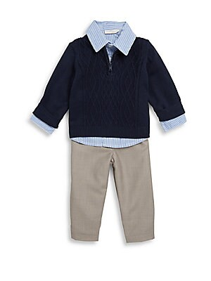 Baby's Three-Piece Embroidered Sweater, Striped Shirt & Slip-On Pants Set