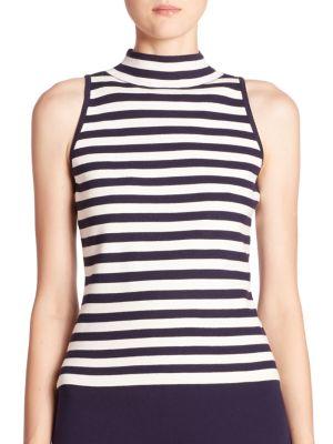 Striped Sleeveless Mockneck Top