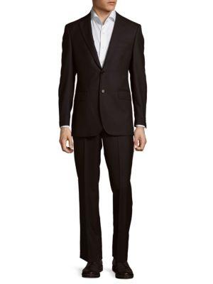 Herringbon Wool Suit Saks Fifth Avenue Made in Italy