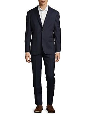 Textured Windowpane Wool Suit