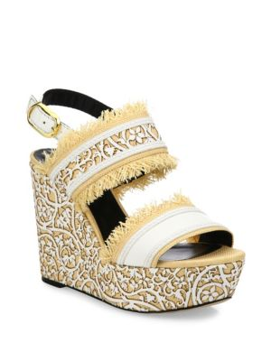 Laser-Cut Leather  Raffia Wedge Sandals Oscar de la Renta