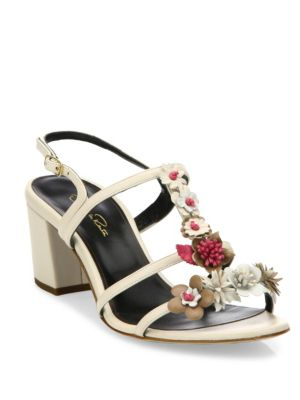 Flower Embellished Lambskin Leather Sandals Oscar de la Renta