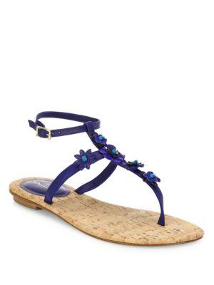 Flower Leather T-Strap Sandals Oscar de la Renta