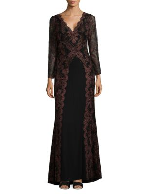 V-NECK EMBROIDERED GOWN