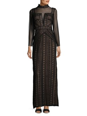Embroidered Laced Gown Tadashi Shoji