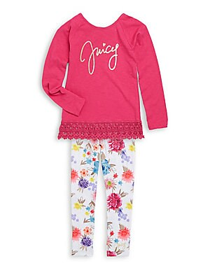 Girl's Logo Lace Top & Floral Leggings Two-Piece Set