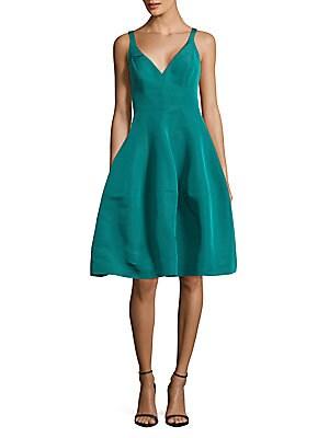 Faille Zippered Silk Dress