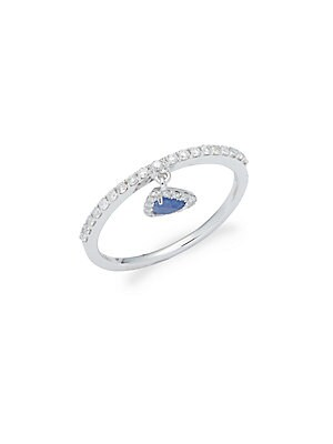 Click here for Diamond  Blue Sapphire & 14K White Gold Triangle R... prices