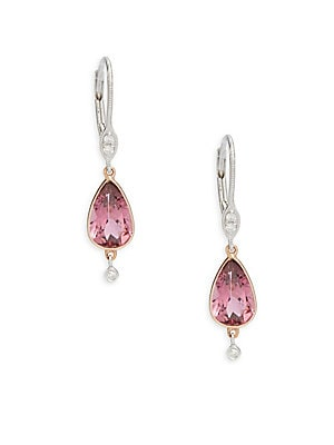Diamond, Pink Tourmaline, White Gold & Rose Gold Two-Tone Earrings