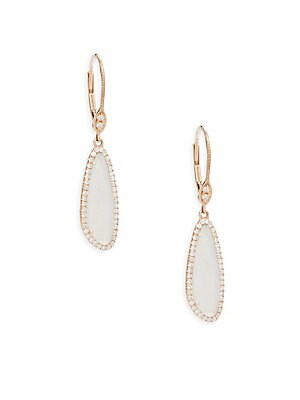 Diamond, Chalcedony & Rose Gold Studded Earrings