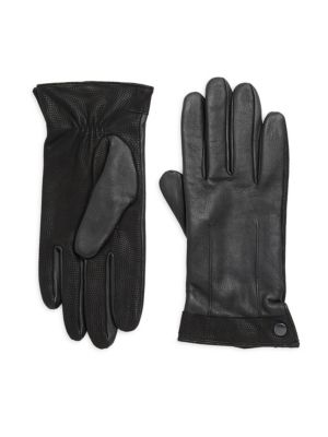 Leather Texture Trim Gloves