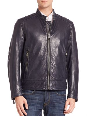 Long Sleeve Leather Jacket Andrew Marc
