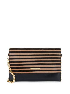 Striped Leather Shoulder Bag FRANCES VALENTINE