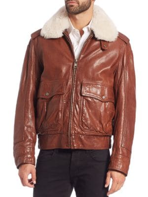 Shearling-Trimmed Aviator Jacket Andrew Marc