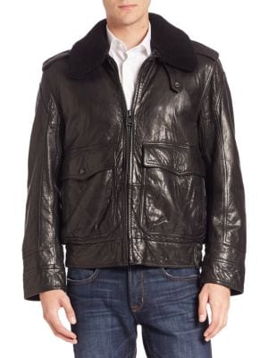 Anchorage Shearling-Trimmed Aviator Jacket Andrew Marc