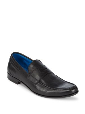 Leather Slip-On Penny Loafers Canali