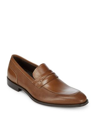 Almond-Toe Leather Penny Loafers Canali