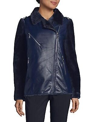 Lamb Fur Leather Moto Jacket