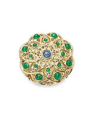 Diamond, Emerald, Ruby, Sapphire and 18K Yellow Gold Mosaic Brooch
