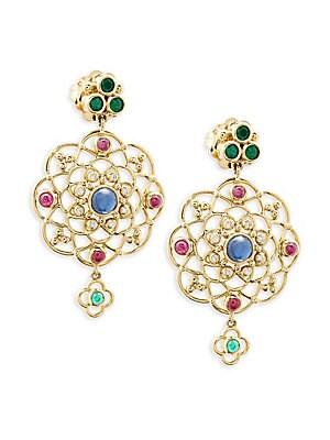 18K Yellow Gold, Diamond and Gemstone Chandelier Earrings