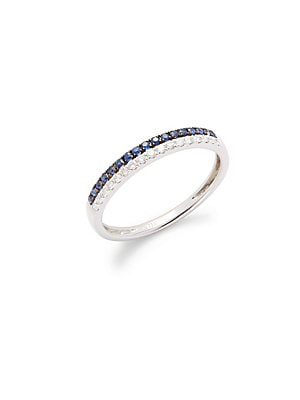 Click here for Blue Sapphire  Diamond & 18K White Gold Ring prices